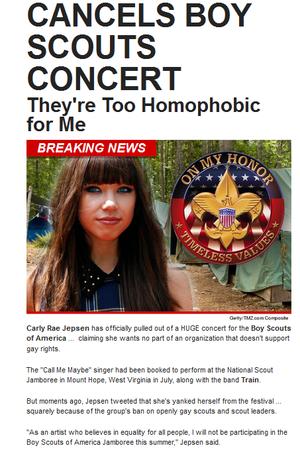 Carly Rae Jepsen Cancels Boy Scouts konzert