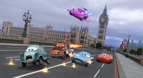 Cars 2 (Disney-Pixar) fond d'écran with a street, a business district, and a chaussée titled Cars 2 fond d'écran