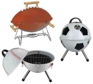 Charcoal grills shaped as footballs, baseballs and サッカー balls