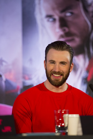 Chris Evans at The Avengers: Age of Ultron UK Press Conference