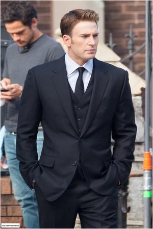 Chris Evans on set Captain America: Civil War