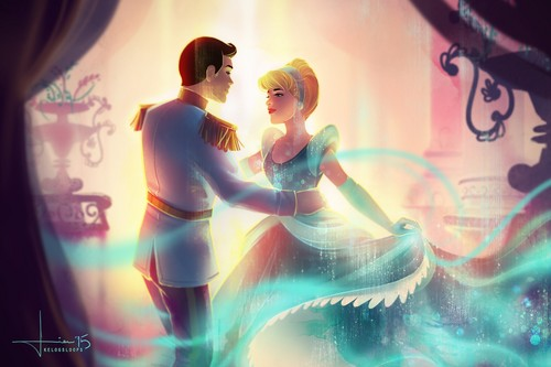 Disney's Couples Обои probably containing a фонтан and a концерт entitled Золушка and Prince Charming