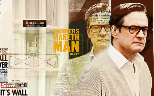 Colin Firth wallpaper probably containing a street, a business suit, and a sign titled Colin Firth -Harry