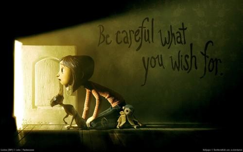 애니메이션 영화 바탕화면 possibly with a sign, a lectern, and a 음악회, 콘서트 titled Coraline 바탕화면