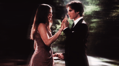 Damon & Elena wallpaper containing a business suit entitled DE last dance