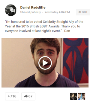 Daniel Radcliffe New Post On Google Plus (Fb.com/DanieljacobRadcliffeFanClub)