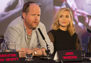 Elizabeth Olsen and Joss Whedon at the Avengers: Age of Ultron UK Press Conference
