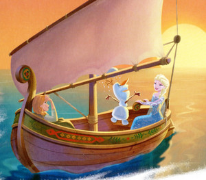 Elsa, Anna and Olaf