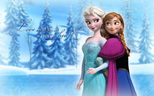 Elsa the Snow क्वीन वॉलपेपर probably with a रात का खाना dress entitled Elsa and Anna वॉलपेपर