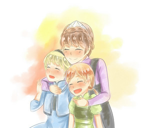 Elsa and Anna with their Mother