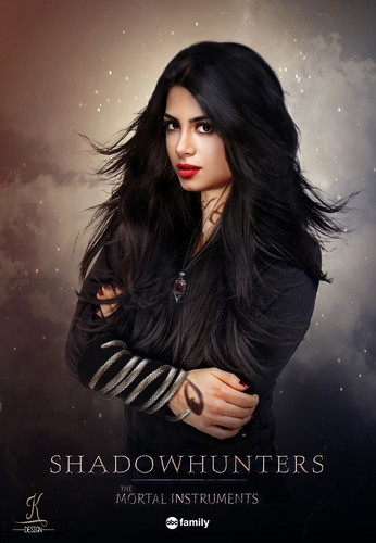 Shadowhunters TV Zeigen Hintergrund possibly containing a sunset and a portrait titled Emeraude Toubia as Isabelle