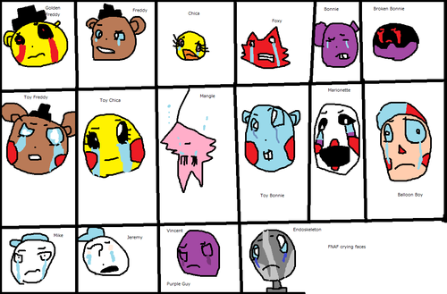 Five Nights at Freddy's kertas dinding with a slot, a slot machine, and a stained glass window entitled Five Nights at Freddy's Crying Characters
