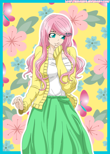Дружба — это чудо Обои containing Аниме called Fluttershy as a Human