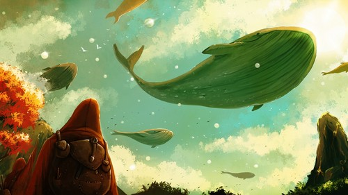 Fantasy Hintergrund titled Flying Whales