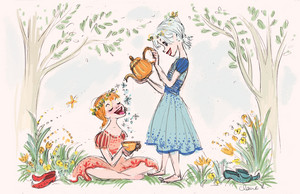 《冰雪奇缘》 Development Art - Anna and Elsa in the Spring