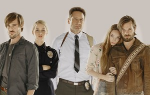 Grey Damon, Claire Holt, David Duchovny, Emma Dumont and Gethin Anthony