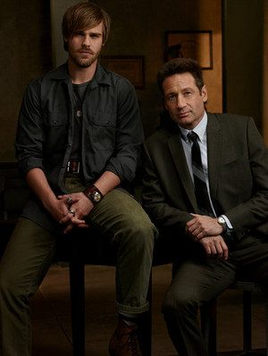 Grey Damon as Brian Shafe and David Duchovny as Sam Hodiak