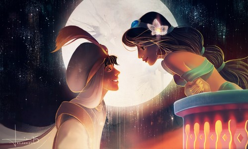 Disney Couples wallpaper containing a fountain called Jasmine and Aladdin