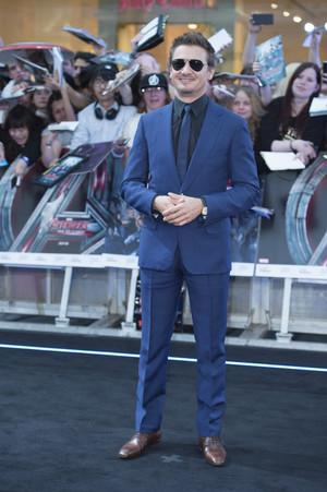 Jeremy Renner aka Clint Barton at Red Carpet at Avengers Age of Ultron UK Premiere