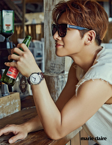 Ji Chang Wook Обои possibly containing sunglasses and a wine bar entitled Ji Chang Wook For Marie Claire Korea