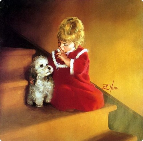 प्यारे शिशु वॉलपेपर probably with a toy poodle titled Kids Paintings