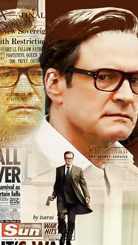 Colin Firth fond d'écran possibly with a business suit, a newspaper, and a sign titled Kingsman-Harry
