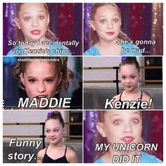 The Girls Of Dance Moms wallpaper containing a portrait titled Maddie Mackenzie Ziegler drama