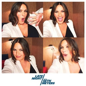 Mariska Hargitay backstage at Late Night with Seth Meyers - May 18, 2015