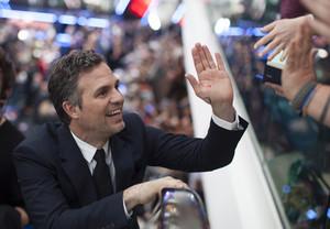 Mark Ruffalo aka Bruce Banner aka Hulk high five Red Carpet at Avengers Age of Ultron UK Premiere