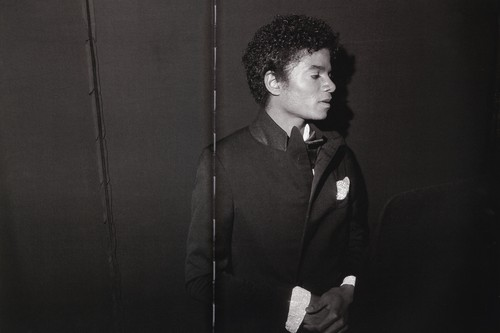 Michael Jackson wallpaper containing a business suit titled Michael Jackson - HQ Scan - Michael Backstage For the UNICEF Charity Event 1980
