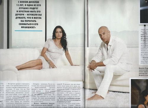 미셸 로드리게즈 바탕화면 probably containing a portrait entitled Michelle Rodriguez and Vin Diesel in Hello! Magazine Russia - 2013