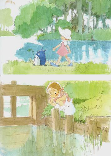 Hayao Miyazaki fondo de pantalla probably with a sign titled My Neighbour Totoro concept sketches