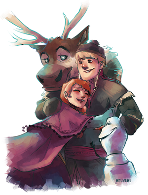 Olaf and Sven with Anna and Kristoff