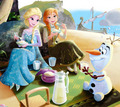 Olaf with Elsa and Anna