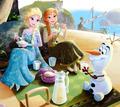 Olaf with Elsa and Anna