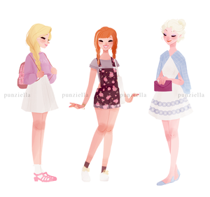 Rapunzel, Anna and Elsa