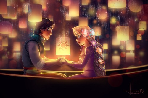 Disney's Couples Обои possibly containing a огонь titled Rapunzel and Flynn