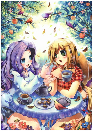 My Little Pony Friendship is Magic wallpaper containing anime entitled Rarity and Applejack's Tea Time