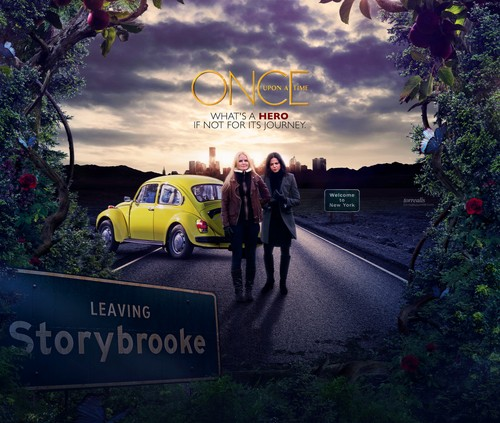 Once Upon A Time wallpaper with a carriageway, a street, and a compact entitled Regina and Emma
