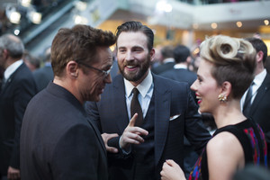 Robert Downey Jr. Chris Evans and Scarlett Johansson Red Carpet at Avengers Age of Ultron UK Premier