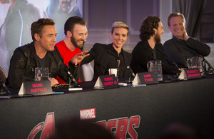 Robert Downey Jr Chris Evans and Scarlett Johansson at the Avengers: Age of Ultron UK Press Conferen