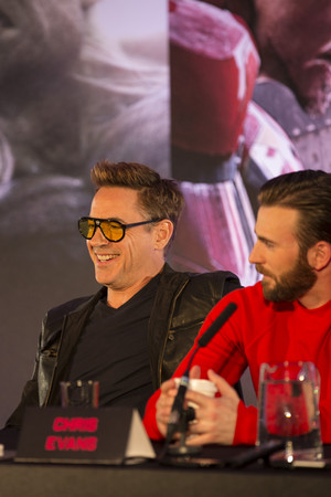 Robert Downey Jr and Chris Evans at the Avengers: Age of Ultron UK Press Conference
