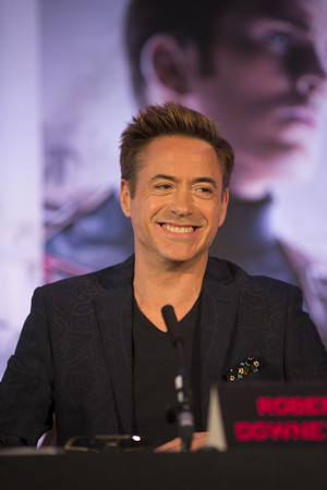 Robert Downey, Jr at the Avengers: Age of Ultron UK Press Conference