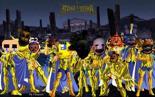 Five Nights at Freddy's پیپر وال with a bandsman, بندسمان titled Saint Freddy (Seiya)