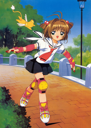 Sakura and Kero-chan سکیٹ along the path