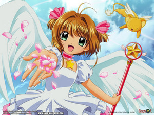 Sakura throws پھول petals with Kero