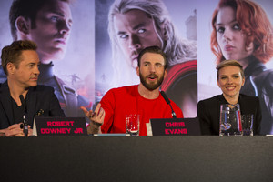 Scarlett Johansson and Chris Evans at the Avengers: Age of Ultron UK Press Conference