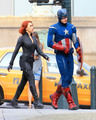 Scarlett and Chris talking in Avengers Set