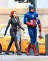 Scarlett and Chris talking in Avengers Set