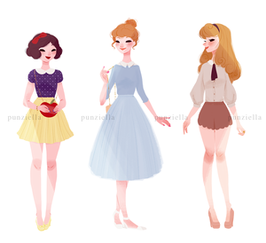 Snow White, cenicienta and Aurora